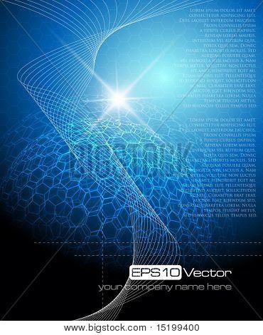 Fondo de tecnología azul - ilustración vectorial