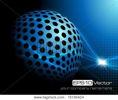 Blue technology background - vector illustration