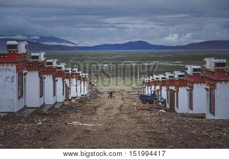 Tibetan homes in a Darchen village which is a starting point for the trek around holy mountain Mount Kailash.