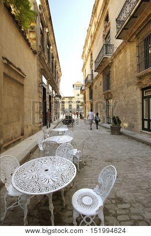 Detail of outdoors cafe in Old Havana street