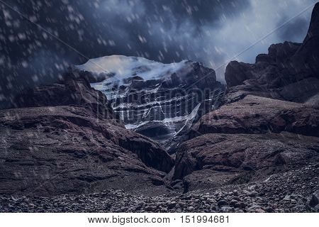 Mount Kailash - holy mountain in the Himalaya during snowfall, Central Tibet