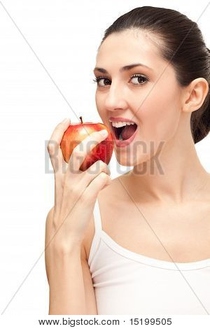 Woman With White Teeth And Apple