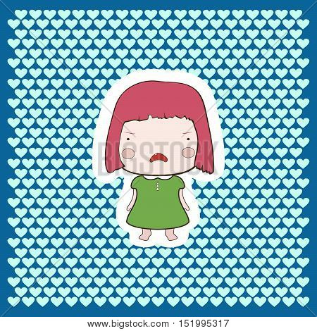 Cute Candy Pink Hair Cartoon Cutout  Style Cry Baby Girl On Bright Background