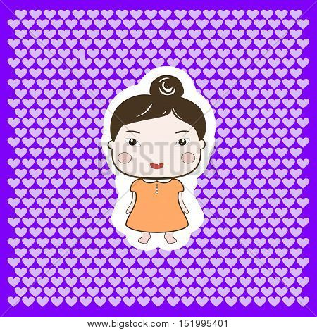 Cute Happy Cartoon Drawing Style Foxy Baby Girl On Dotted Background