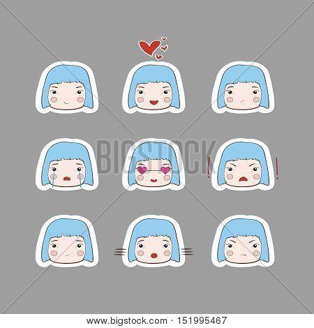 Cute Simple Drawing BlueHair Baby Girl Emotions Set