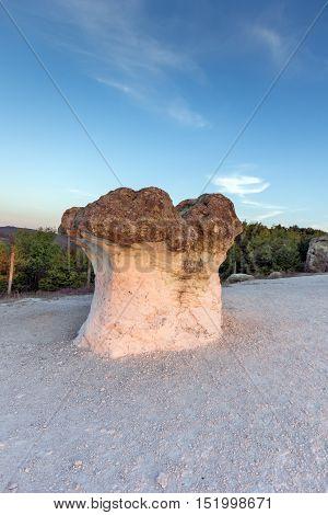 Sunrise at a rock formation The Stone Mushrooms near Beli plast village, Kardzhali Region, Bulgaria