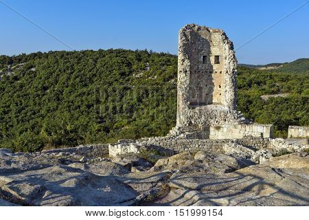 Sunrise view of Tower in The ancient Thracian city of Perperikon, Kardzhali Region, Bulgaria