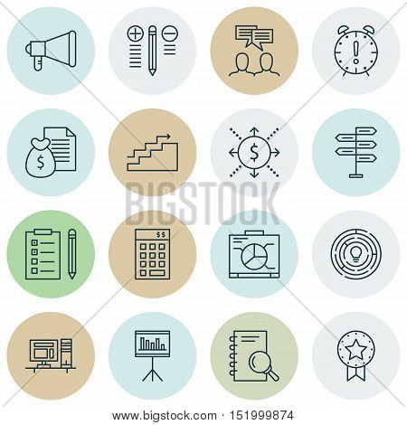 Set Of Project Management Icons On Innovation, Time Management, Discussion And Other Topics. Editabl
