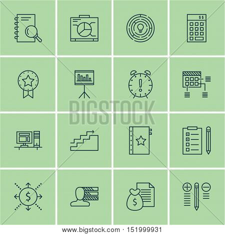 Set Of Project Management Icons On Growth, Board, Money And Other Topics. Editable Vector Illustrati