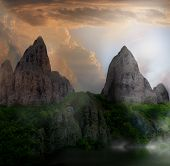 stock photo of fantasy landscape  - fantasy mountain landscape - JPG