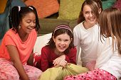 picture of foursome  - Group of four happy little girls at a sleepover - JPG