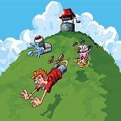 Carton Jack And Jill Falling Down A Hill poster