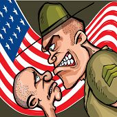 image of army cadets  - Angry cartoon drill sergeant screaming at a cadet - JPG