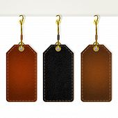 Set Of Leather Tag Labels