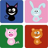 picture of cute animal face  - A group of happy animal face Vector file of animals - JPG