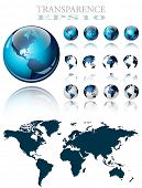 stock photo of world-globe  - 3d world map over the Earth Globe - JPG