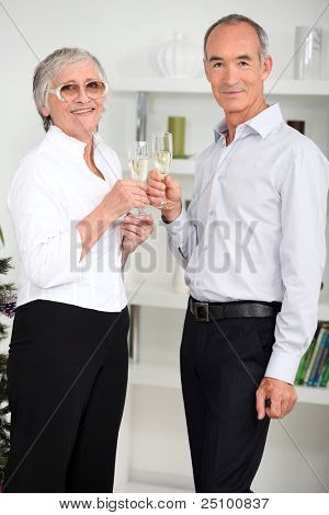 portrait of seniors celebrating new year