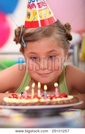 Girl looking at candles