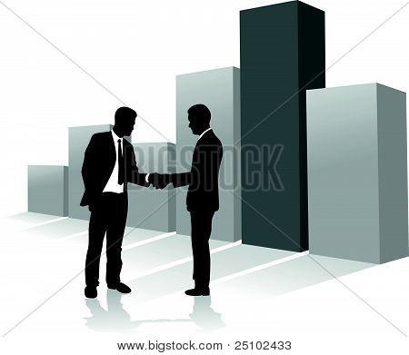 Pessoas de negócios de gráfico de barras