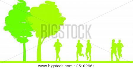 Runners In A Field Cityscape