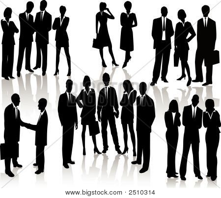 Business People - Vector Silhouette