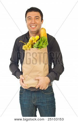 Happy Man Shopping Food