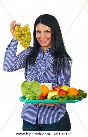 Woman Choose Green Grape