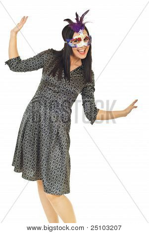 Happy Elegant Woman With Carnival Mask