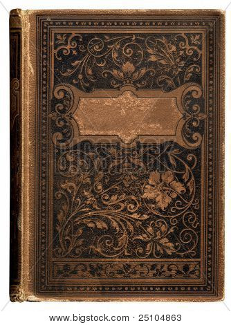 vintage bookcover with beautiful floral decoration and blank label for your text