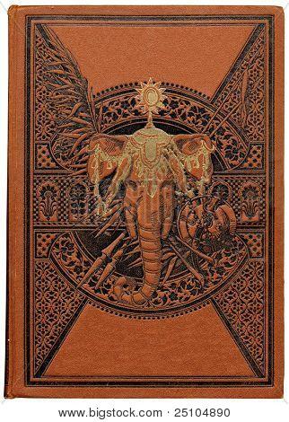 Vintage libro sobre India con decoración floral grabada y cabeza de elefante