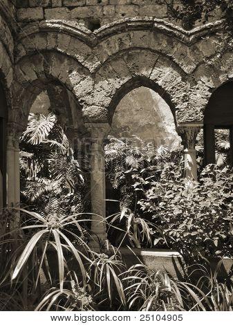 moorish influenced cloister at Palermo, Sicily