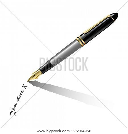 oldfashioned fountain-pen writing, realistic vector illustration