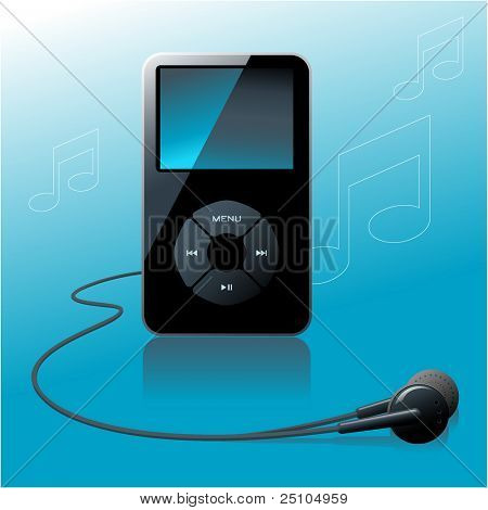 MP3 player in front of a blue background with notes - no flattened transparencies, just gradients used