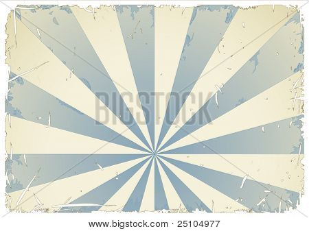 grungy retro-background in blue and cream, white grunge and frame can easily be removed