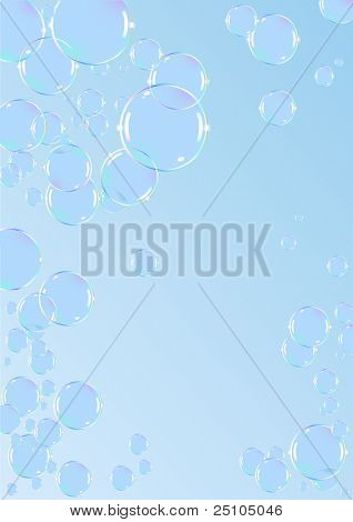 vector illustration of shiny soap-bubbles against light blue background