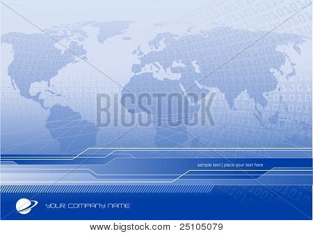 global business or communication background with world-map and binary code - customize with your own logo and text