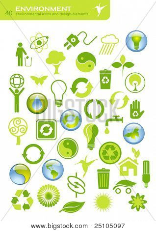 Vektor-Set von 40 environmental Icons und Design-Elemente