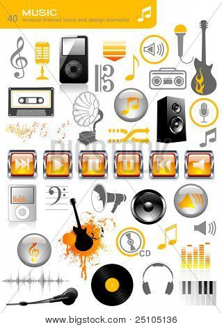 collection of 40 music and sound related icons and design-elements - including a set of media-player buttons