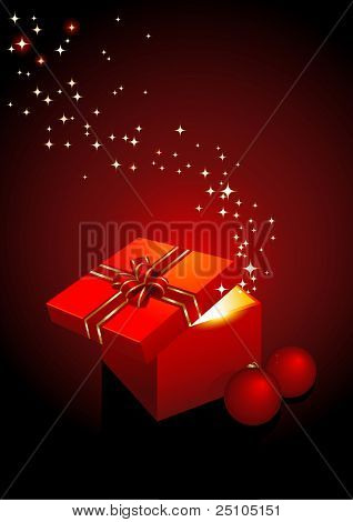 magic gift-box - vector holiday background