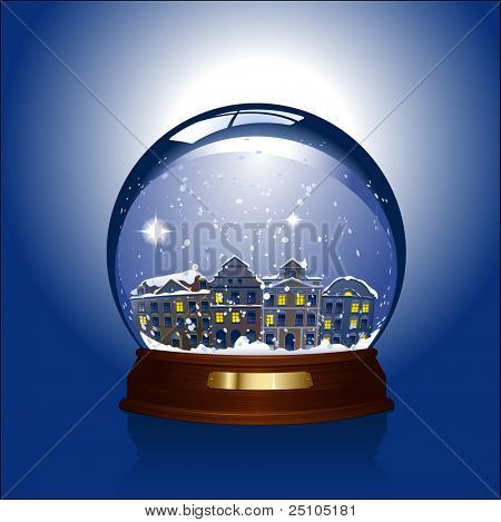 snowglobe with town inside - rasterized version of img. ID 18075943