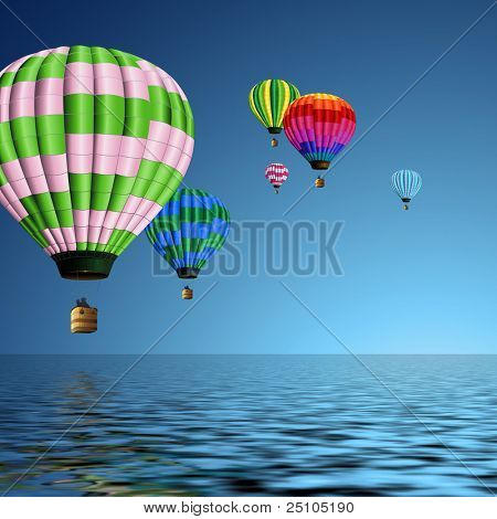 couple of colorful hot air balloons flying over the ocean