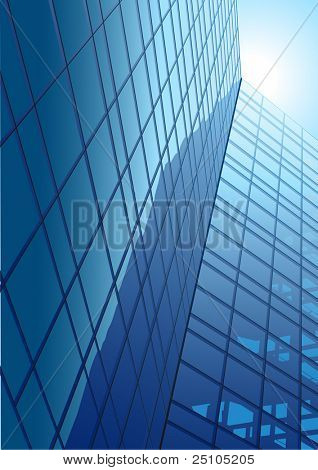 modern office-buildings with glass front and reflexion
