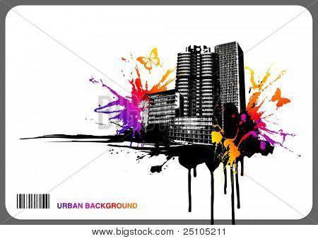 grungy urban background with rainbow-colored splats and butterflies