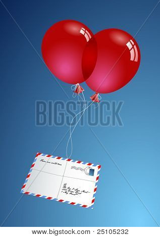 "two red balloons delivering a love-letter via ""airmail"" - no gradient-mesh or transparencies used"