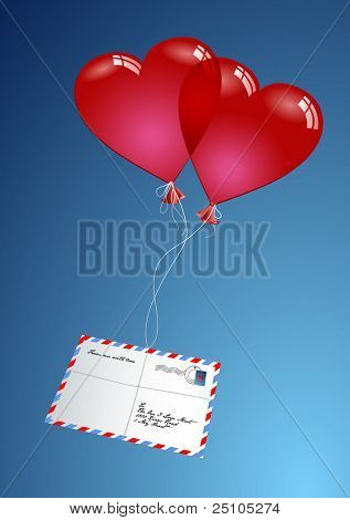 "two heart-shaped balloons delivering a loveletter via ""airmail"""