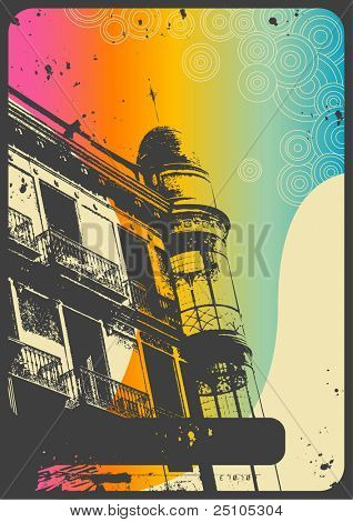 romantic urban background with retro graphic elements and rainbow flow