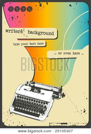sixties writing background with vintage typewriter and rainbow flow