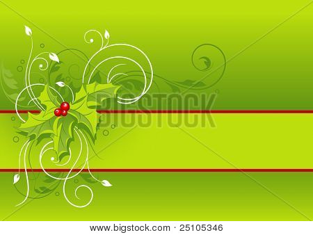 floral christmas background with hollies - please see my portfolio for corresponding vector-file