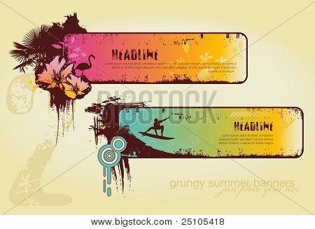 set of two grungy summer banners