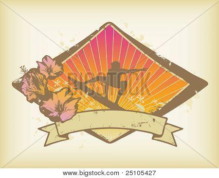 klassische Surf-Crest mit Hibiskus und Banner für Ihren text